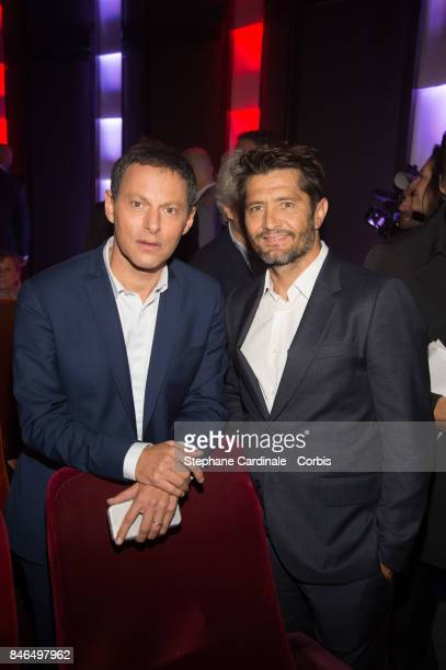 MarcOlivier Fogiel and Bixente Lizarazu attend the RTLRTL2Fun Radio Press Conference to Announce Their TV Schedule for 2017/2018 at Cinema Elysee...