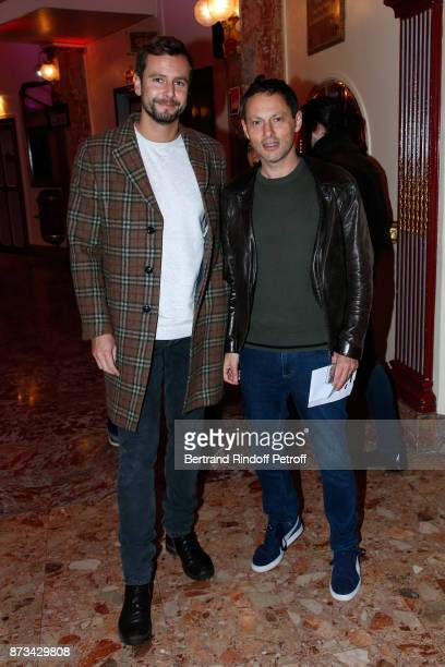 MarcOlivier Fogiel and his husband Francois Roelants attend 'Depardieu Chante Barbara' at 'Le Cirque D'Hiver' on November 11 2017 in Paris France