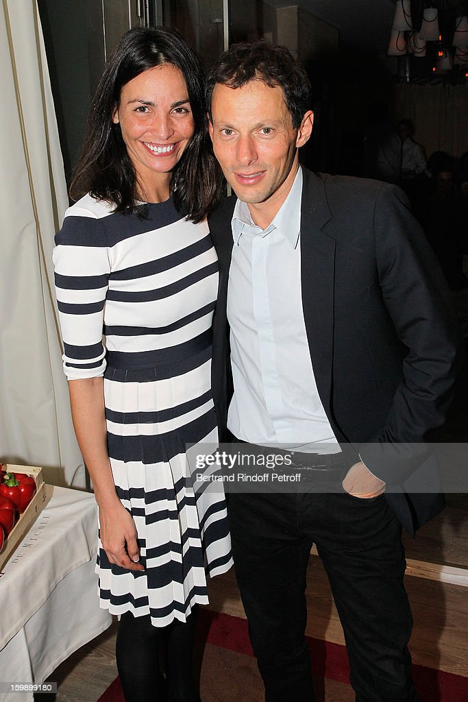Marc-Olivier Fogiel (R) and Ines Sastre attend 'La Petite Maison De Nicole' Inauguration Cocktail at Hotel Fouquet's Barriere on January 22, 2013 in Paris, France.