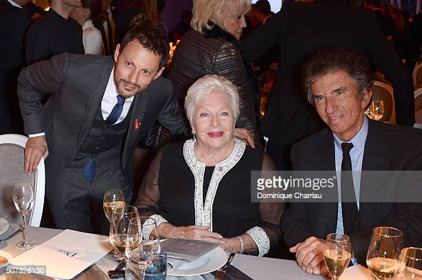 MarcOlivier Fogiel Line Renaud and Jack Lang attend the Sidaction Gala Dinner 2016 as part of Paris Fashion Week on January 28 2016 in Paris France
