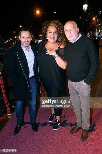 Marc-Olivier Fogiel, Marianne James and Francois Berleand attend the Fouquet's Paris Restaurant presents its Menu 'Twisted' by the Chef Pierre...