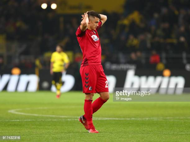MarcOlver Kempf of Freiburg looks dejected after the Bundesliga match between Borussia Dortmund and SportClub Freiburg at Signal Iduna Park on...
