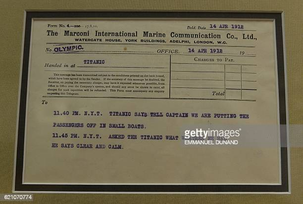 A Marconi message from the Titanic to the Olympic ship is on display at Bonhams auction house in New York April 12 2012 Bonhams is scheduled to hold...