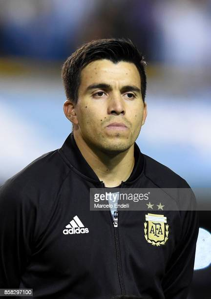 Marcos Acuña of Argentina looks on prior to a match between Argentina and Peru as part of FIFA 2018 World Cup Qualifiers at Estadio Alberto J Armando...
