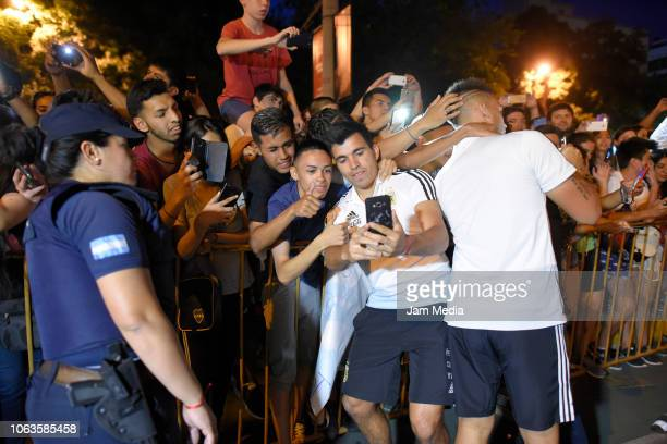 Marcos Acuña of Argentina take pictures with fans as arriving to Diplomatic Hotel on November 19 2018 in Mendoza Argentina Argentina will face Mexico...
