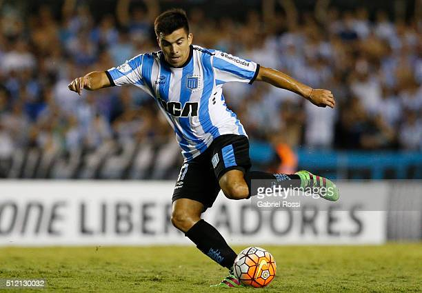 Marcos Acuña of Racing Club kicks the ball during a group stage match between Racing Club and Bolivar as part of Copa Bridgestone Libertadores 2016...