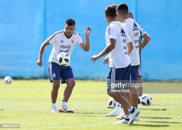 Marcos Acuna of Argentina and teammates warm up during a training session at Stadium of Syroyezhkin sports school on June 28 2018 in Bronnitsy Russia