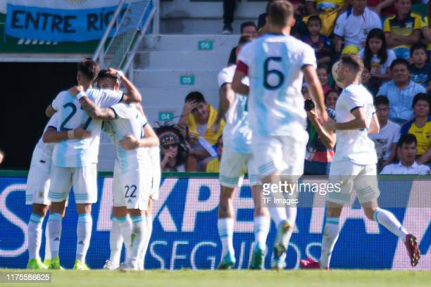 Marcos Acuna of Argentina celebrates his team's second goal with team mates during the UEFA Euro 2020 qualifier between Ecuador and Argentina on...