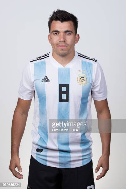 Marcos Acuna of Argentina poses for a portrait during the official FIFA World Cup 2018 portrait session on June 12 2018 in Moscow Russia