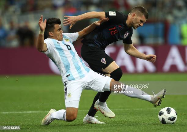 Marcos Acuna of Argentina vies with Ante Rebic of Croatia during the 2018 FIFA World Cup Russia group D match between Argentina and Croatia at Nizhny...