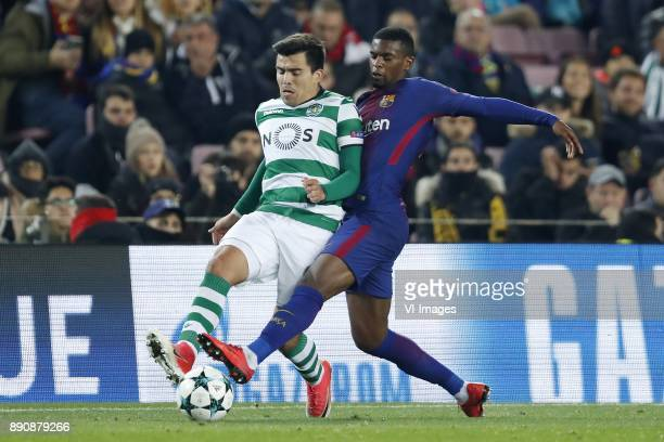 Marcos Acuna of Sporting Club de Portugal Nelson Semedo of FC Barcelona during the UEFA Champions League group D match between FC Barcelona and...