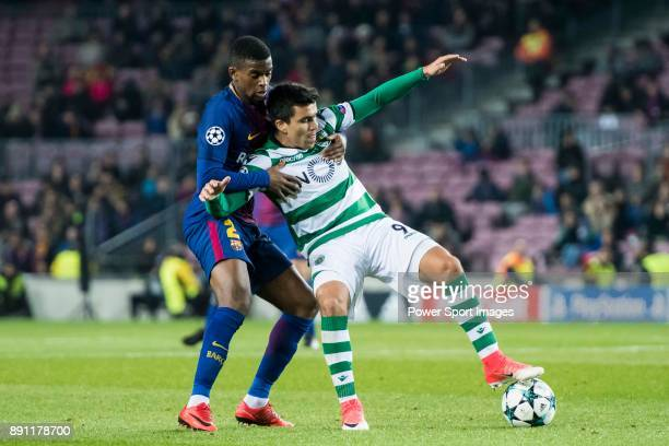 Marcos Acuna of Sporting CP fights for the ball with Nelson Cabral Semedo of FC Barcelona during the UEFA Champions League 201718 match between FC...