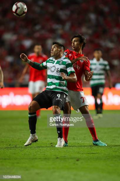 Marcos Acuna of Sporting CP vies with Joao Felix of SL Benfica for the ball possession during the Liga NOS match between SL Benfica and Sporting CP...