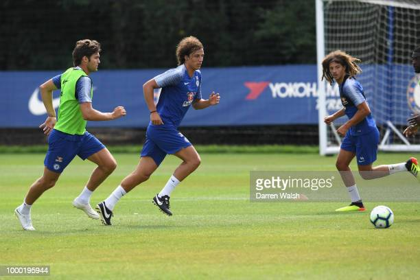 Marcos Alonso and David Luiz of Chelsea during a training session at Chelsea Training Ground on July 16 2018 in Cobham England