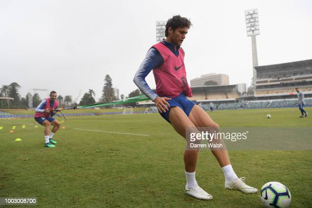 Marcos Alonso and Davide Zappacosta of Chelsea during a training session on July 21 2018 at the WACA in Perth Australia