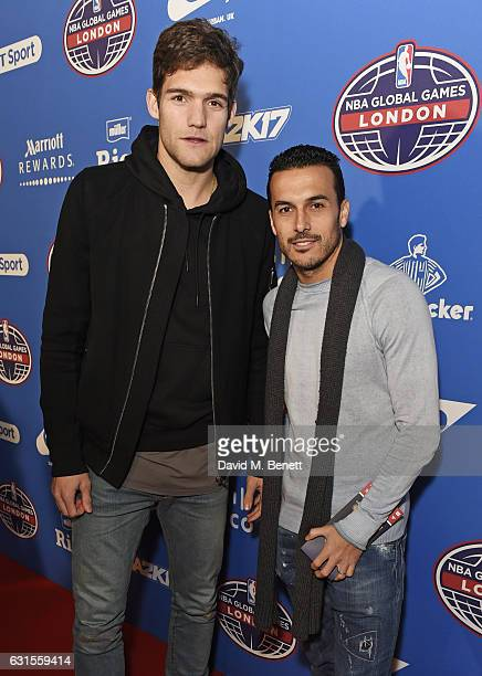 Marcos Alonso and Pedro attend the Denver Nuggets v Indiana Pacers game during NBA Global Games London 2017 at The O2 Arena on January 12 2017 in...