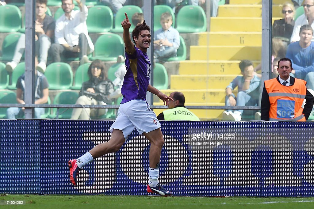Marcos Alonso celebrates after scoring his team's third goal during the Serie A match between US Citta di Palermo and ACF Fiorentina at Stadio Renzo Barbera on May 24, 2015 in Palermo, Italy.