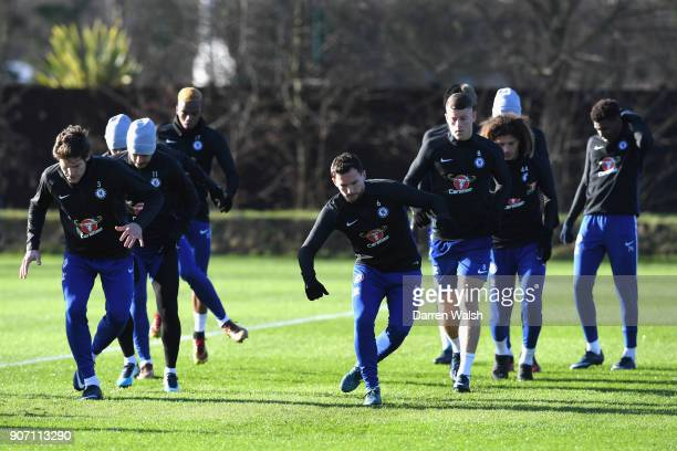 Marcos Alonso Danny Drinkwater and Ross Barkley of Chelsea during a training session at Chelsea Training Ground on January 19 2018 in Cobham England