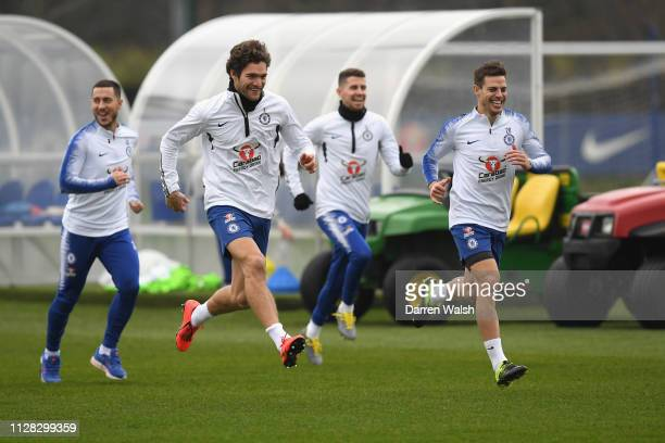 Marcos Alonso Mendoza and César Azpilicueta of Chelsea during a training session at Chelsea Training Ground on March 1 2019 in Cobham England