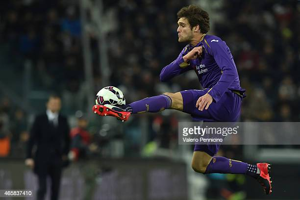Marcos Alonso of ACF Fiorentina controls the ball during the TIM Cup match between Juventus FC and ACF Fiorentina at Juventus Arena on March 5 2015...