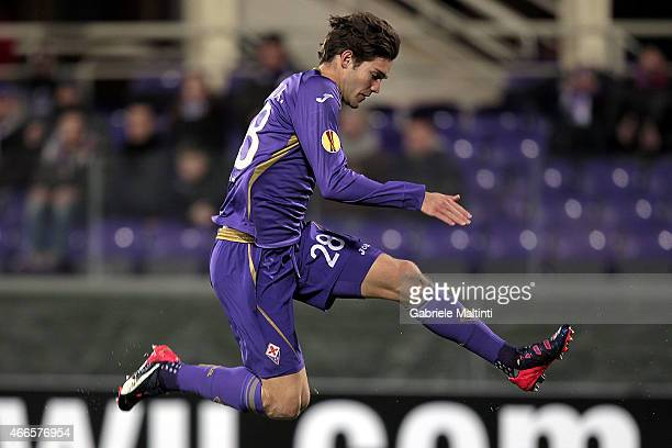 Marcos Alonso of ACF Fiorentina in action during the UEFA Europa League Round of 16 match between ACF Fiorentina and AS Roma on March 12 2015 in...