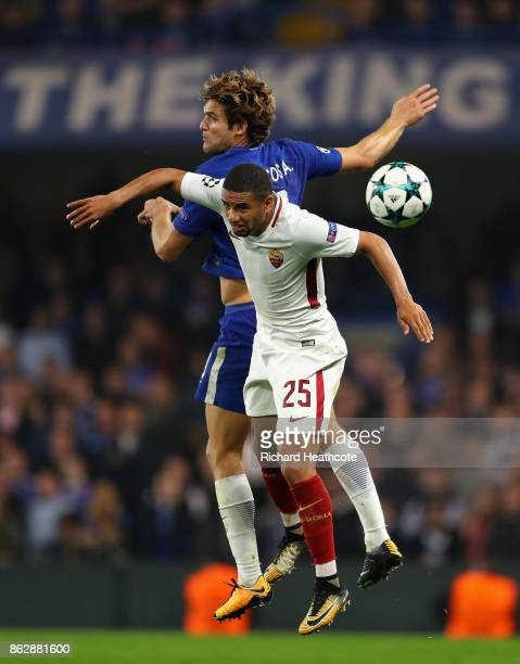 Marcos Alonso of Chealsea nd Bruno Peres of AS Roma battle for posession during the UEFA Champions League group C match between Chelsea FC and AS...