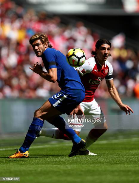 Marcos Alonso of Chelsea and Hector Bellerin of Arsenal battle for possession during the The FA Community Shield final between Chelsea and Arsenal at...