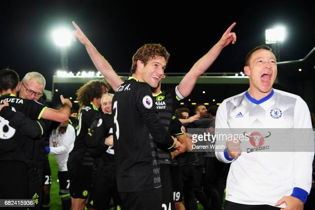 Marcos Alonso of Chelsea and John Terry of Chelsea celebrate winning the leauge after the Premier League match between West Bromwich Albion and...