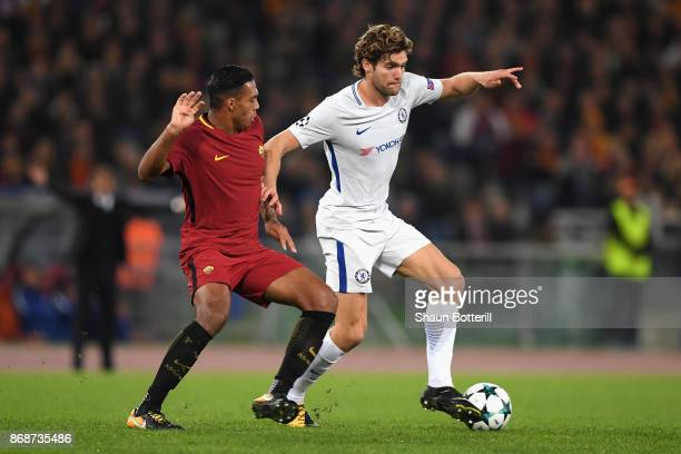 Marcos Alonso of Chelsea and Juan Jesus of AS Roma during the UEFA Champions League group C match between AS Roma and Chelsea FC at Stadio Olimpico...