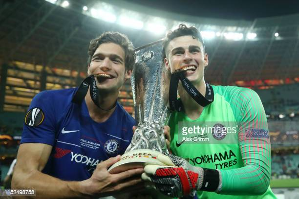 Marcos Alonso of Chelsea and Kepa Arrizabalaga of Chelsea celebrate with the Europa League Trophy following their team's victory in the UEFA Europa...
