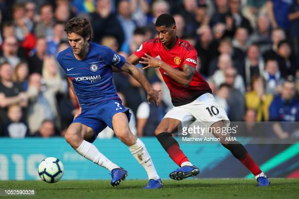 Marcos Alonso of Chelsea and Marcus Rashford of Manchester United during the Premier League match between Chelsea FC and Manchester United at...