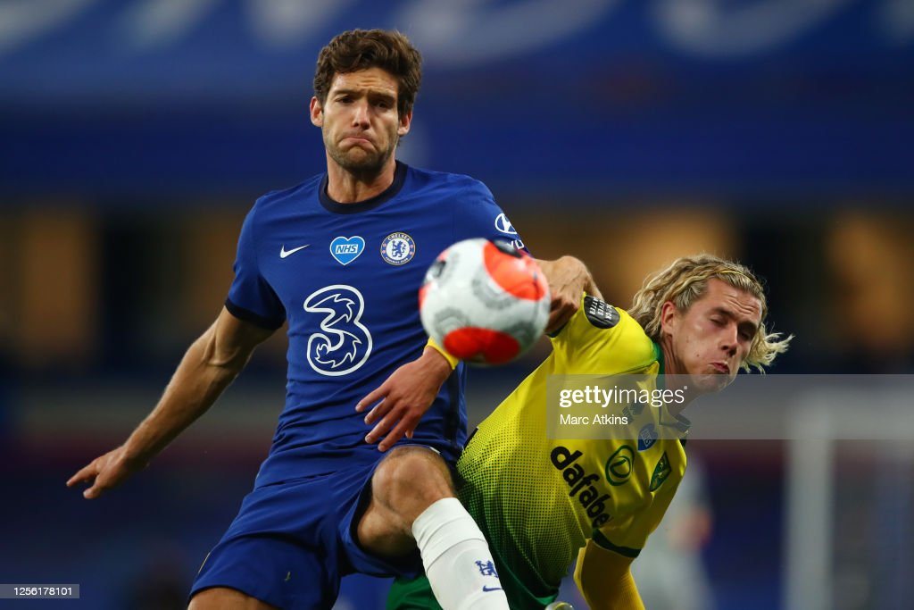 Marcos Alonso of Chelsea and Todd Cantwell of Norwich City during ...