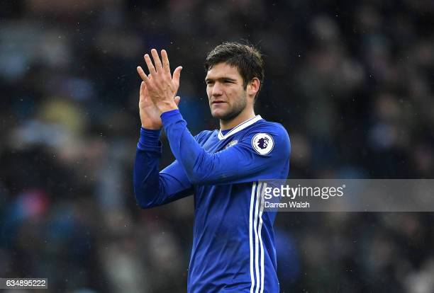 Marcos Alonso of Chelsea applauds supporters during the Premier League match between Burnley and Chelsea at Turf Moor on February 12 2017 in Burnley...