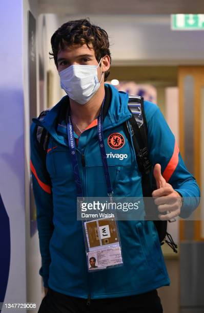 Marcos Alonso of Chelsea arrives at the stadium prior to prior to the UEFA Champions League group H match between Chelsea FC and Malmo FF at Stamford...
