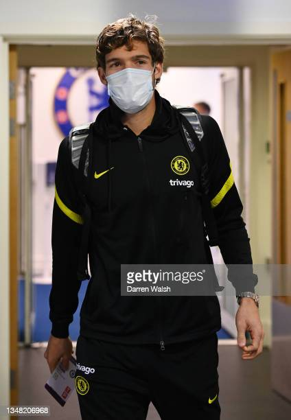 Marcos Alonso of Chelsea arrives at the stadium prior to the Premier League match between Chelsea and Norwich City at Stamford Bridge on October 23,...