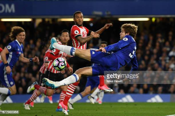 Marcos Alonso of Chelsea attempts a spectacular shot on goal during the Premier League match between Chelsea and Southampton at Stamford Bridge on...