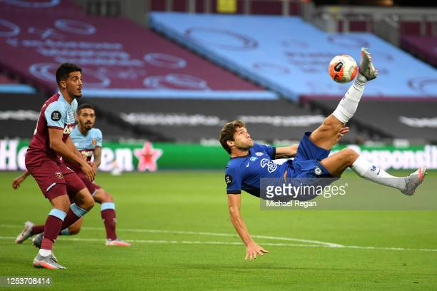 Marcos Alonso of Chelsea attempts an overhead kick during the Premier League match between West Ham United and Chelsea FC at London Stadium on July...