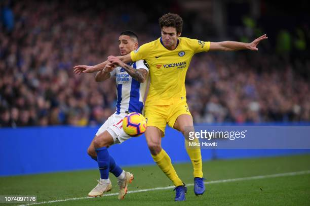 Marcos Alonso of Chelsea battles for possession with Anthony Knockaert of Brighton and Hove Albion during the Premier League match between Brighton...