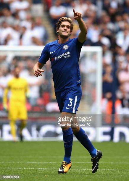 Marcos Alonso of Chelsea celebrates after scoring his sides first goal during the Premier League match between Tottenham Hotspur and Chelsea at...