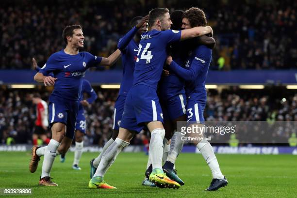 Marcos Alonso of Chelsea celebrates after scoring his sides first goal during the Premier League match between Chelsea and Southampton at Stamford...