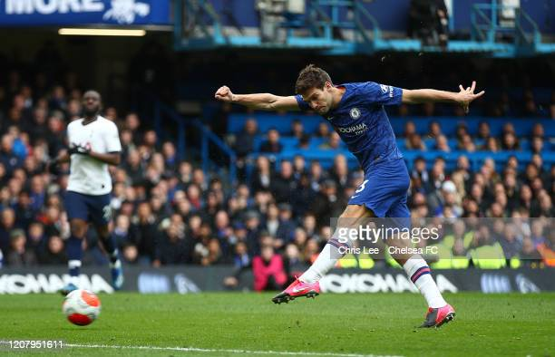 Marcos Alonso of Chelsea celebrates after scoring his sides second goal during the Premier League match between Chelsea FC and Tottenham Hotspur at...
