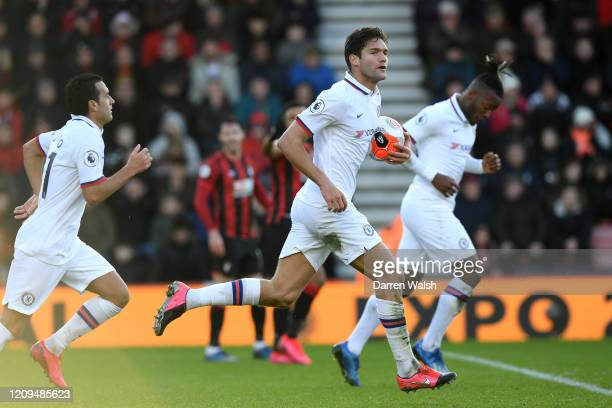Marcos Alonso of Chelsea celebrates after scoring his sides second goal during the Premier League match between AFC Bournemouth and Chelsea FC at...