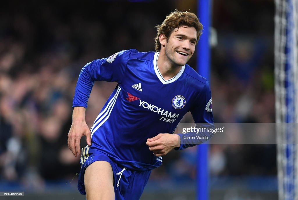 Marcos Alonso of Chelsea celebrates after scoring his sides second goal during the Premier League match between Chelsea and Middlesbrough at Stamford Bridge on May 8, 2017 in London, England.