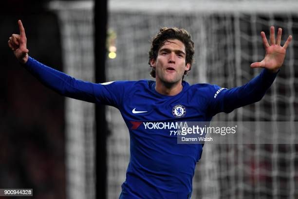 Marcos Alonso of Chelsea celebrates after scoring his sides second goal during the Premier League match between Arsenal and Chelsea at Emirates...