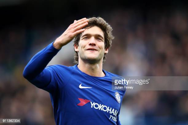 Marcos Alonso of Chelsea celebrates after scoring his sides third goal during The Emirates FA Cup Fourth Round match between Chelsea and Newcastle on...