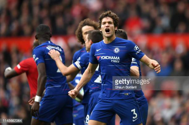 Marcos Alonso of Chelsea celebrates after scoring his team's first goal during the Premier League match between Manchester United and Chelsea FC at...