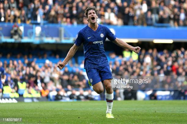 Marcos Alonso of Chelsea celebrates after scoring his team's first goal during the Premier League match between Chelsea FC and Newcastle United at...