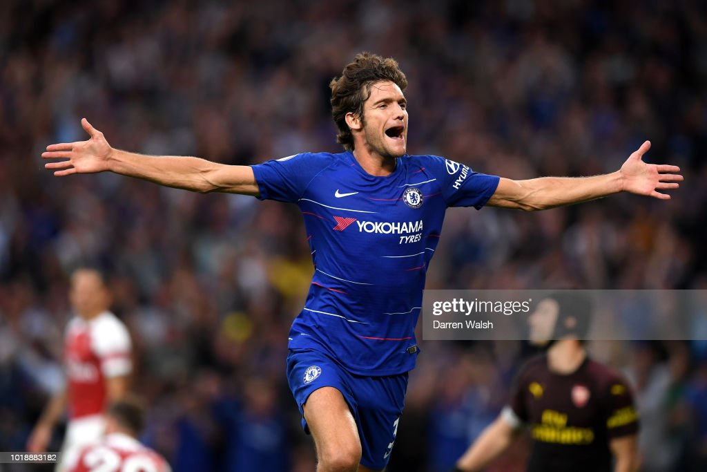 Marcos Alonso of Chelsea celebrates after scoring his team's third goal during the Premier League match between Chelsea FC and Arsenal FC at Stamford Bridge on August 18, 2018 in London, United Kingdom.