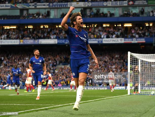 Marcos Alonso of Chelsea celebrates after scoring his team's third goal during the Premier League match between Chelsea FC and Arsenal FC at Stamford...