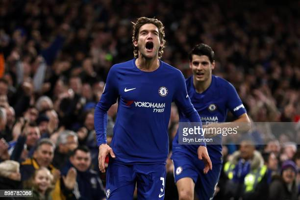 Marcos Alonso of Chelsea celebrates after scoring their second goal during the Premier League match between Chelsea and Brighton and Hove Albion at...